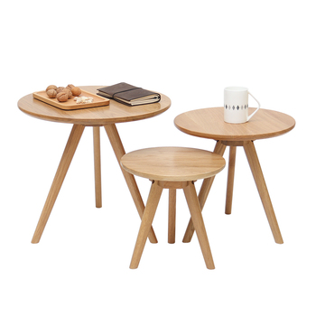 Small round table coffee table combination solid wood round minimalist side table living room log sofa side tea table renmen side table walnut