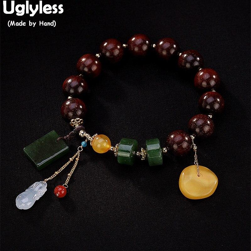 Bracelet à breloques en bracelets pour femme de palissandre naturel 100% sans sucre, éthique asiatique, bijoux en corde élastique, bracelet en Jade