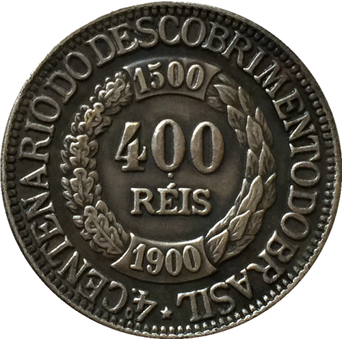 1900 Бразилия 400 Reis Монеты Скопируйте Бесплатная доставка 22.8 мм