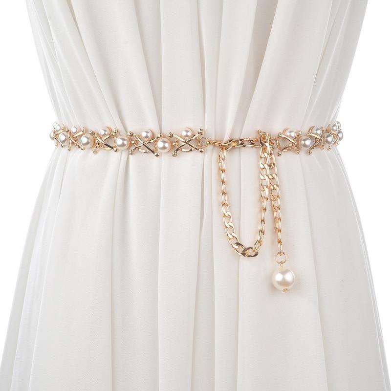 CETIRI Belts For Women Gold Metal Chain Stretchy Strap Elegant Waist Belt With Pearls Designer Metal Thin Belts Ceinture Femme
