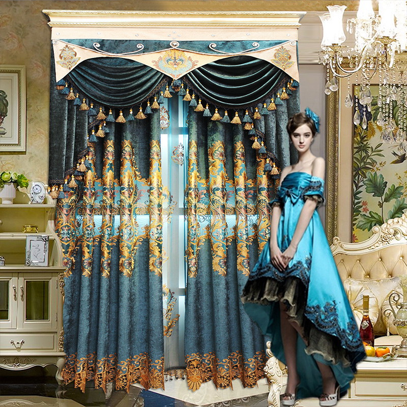Custom curtains luxury European style high-precision Exquisite embroidery cloth blackout curtain tulle valance sheer E966Custom curtains luxury European style high-precision Exquisite embroidery cloth blackout curtain tulle valance sheer E966