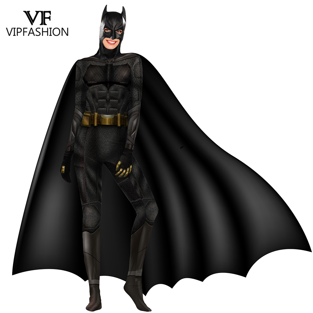 VIP FASHION  Batman Cosplay Costume Superman The Dark Knight Bruce Wayne Jumpsuit  Men Women Halloween Costume Zentai Bodysuit