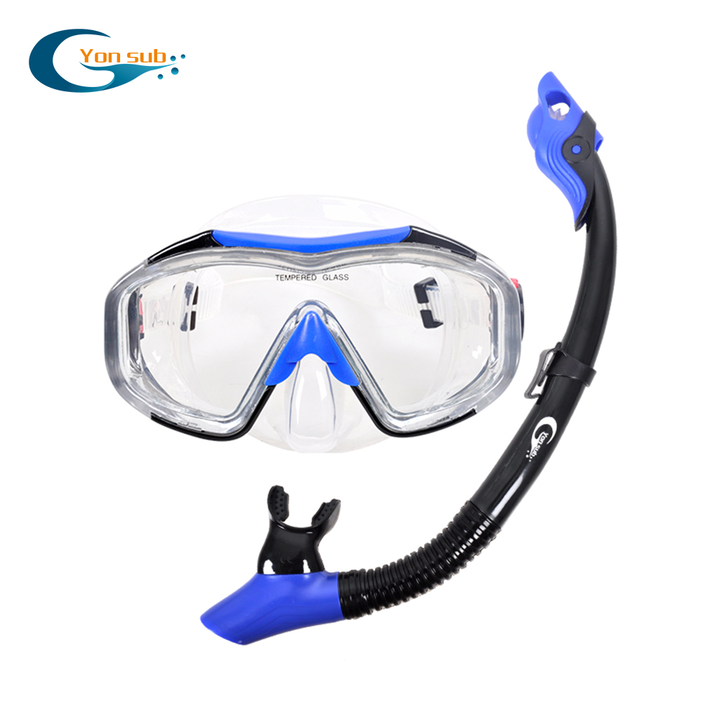 YONSUB Professional 4 Wide View Scuba Diving Mask Silicone Skirt Three-Lens And Easy Breath Dry Snorkel Tube Set Men Women
