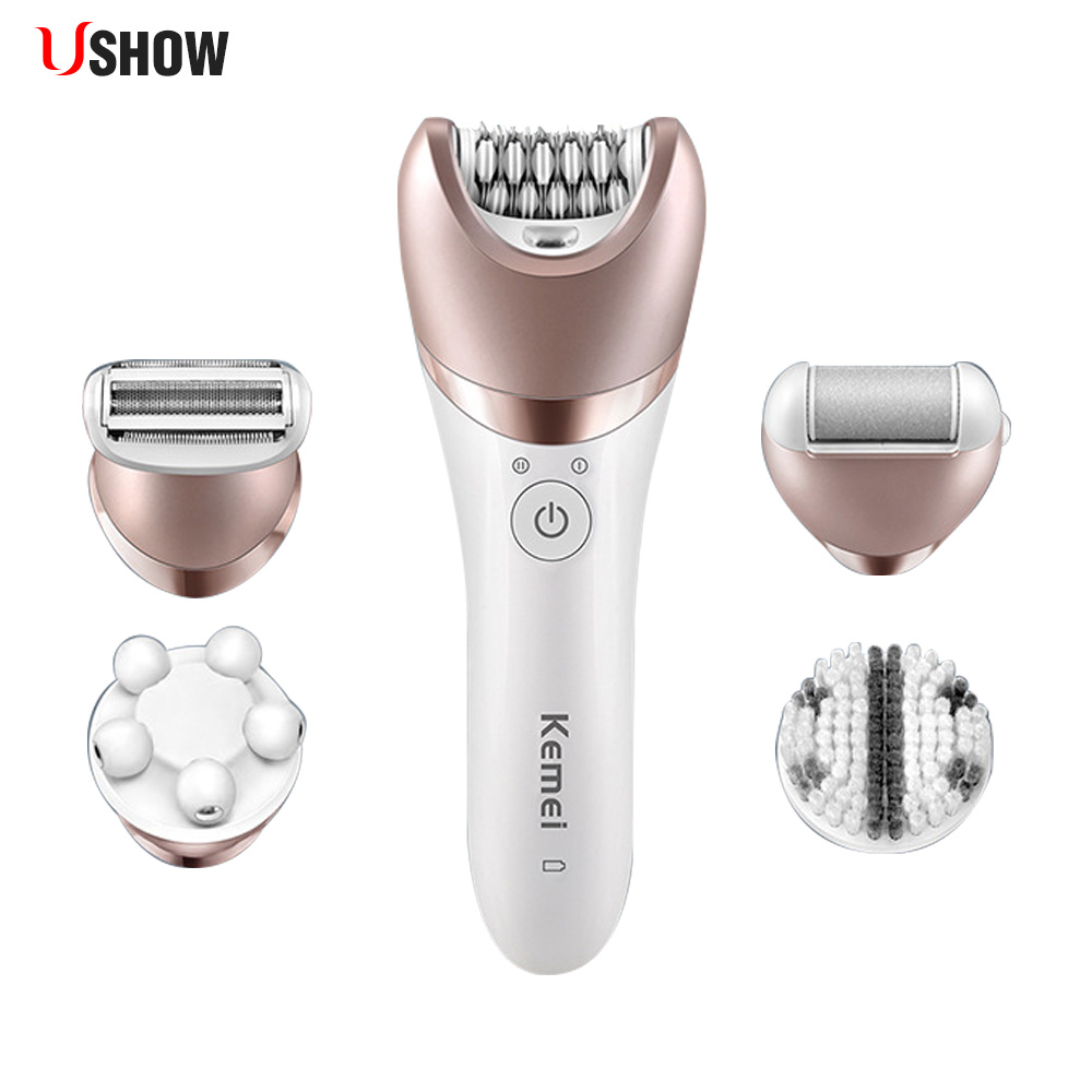 USHOW 5 In 1 Rechargeable Shaver Electric Epilator Waterproof Shaving Hair Remover Women Defeatherer Massager Callus Removal Set kemei km 8001 5 in 1 rechargeable shaver electric epilator shaving hair remover women depilation massager callus removal sets