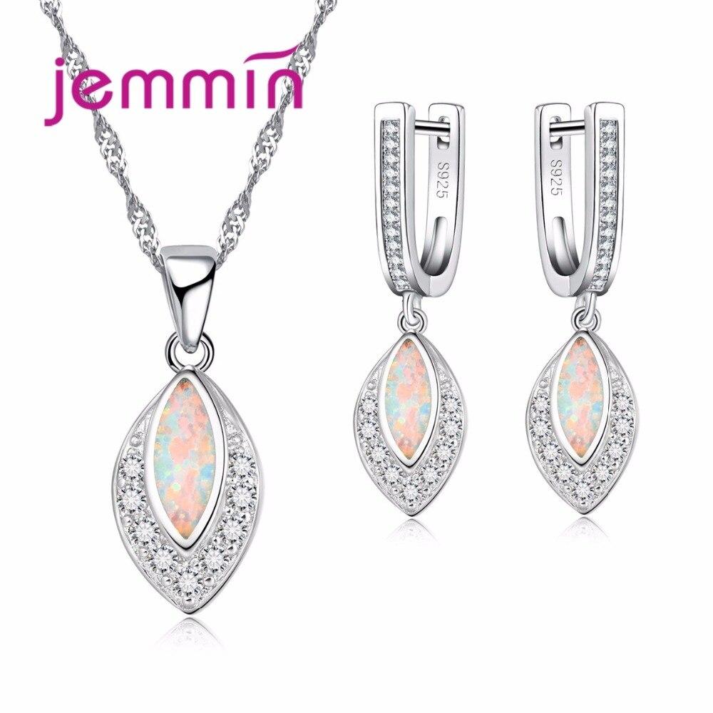 Elegant Women Female 925 Sterling Silver Necklace Earrings Set With Water Drop AAA Opal Party Wedding Jewelry Set