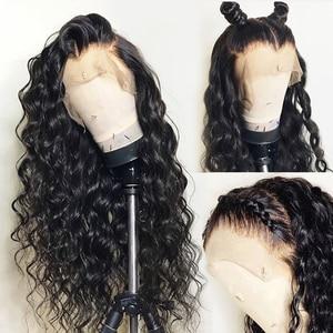 Image 1 - מים גל 13X6 תחרה מול שיער טבעי פאות לנשים שחורות מזויף קרקפת עמוק 360 תחרה פרונטאלית פאה רמי סגירת HD שקוף תחרה