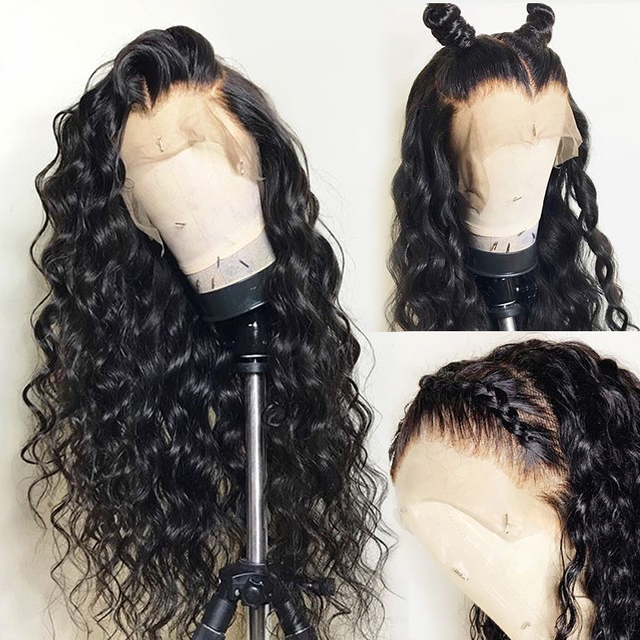 Water Wave 13X6 Lace Front Human Hair Wigs for Black Women Fake Scalp Deep 360 Lace Frontal Wig Remy Closure HD Transparent Lace