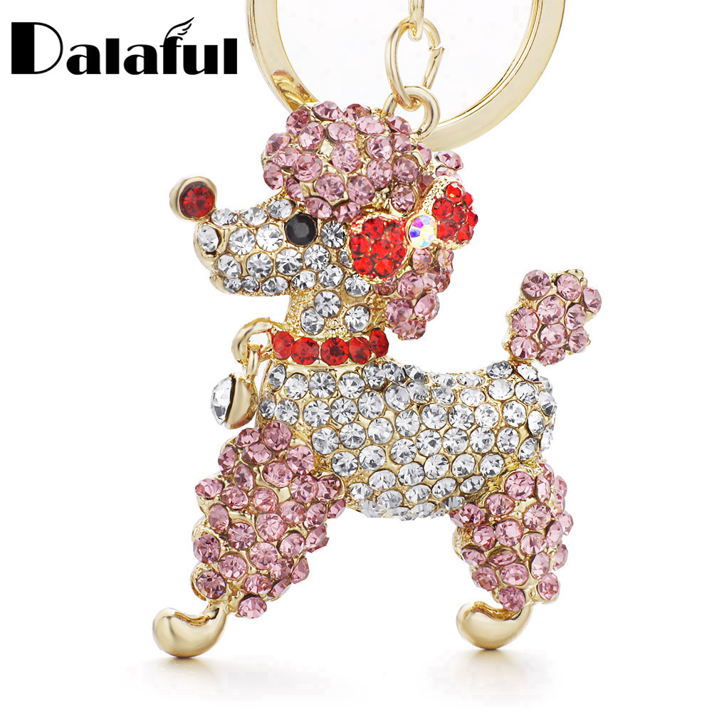Dalaful Lovely Poodle Dog Bowknot Crystal Nyckelringar Nyckelringar för bil Kvinnor Alloy Purse Bag Key Chain Ring Holder K307