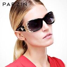 Parzin polarizado óculos de sol feminino óculos de sol de luxo para senhoras do vintage óculos de sol uv 400 preto com caso
