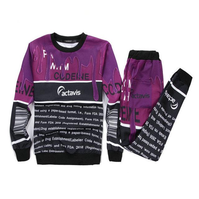 Alisister Nueva Casual mujeres/hombres traje Delgado Codeína café leche 3d impreso establecido joggers pantalones + camiseta ropa básica 2 unidades set