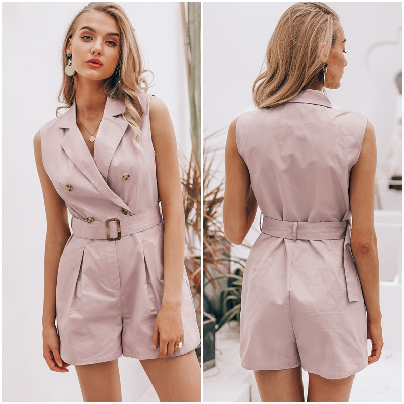 HTB1As5 SgHqK1RjSZFgq6y7JXXaH - Simplee Elegant sashes khaki cotton women playsuit Summer pockets button zipper rompers short jumpsuit Office ladies overalls