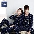 Ndy estilo Coreano Parejas pijamas fijados para las mujeres de manga Larga de algodón Puro de Primavera y otoño ropa de dormir de Los Hombres del desgaste de ocio