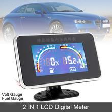 12V 24V Universal 2 In 1 LCD Digital Volt Gauge + Fuel Auto Car Instrument Color Screen 9-39V for Truck Vehicles