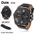 Oulm Dual Movt Quartz Wrist Watch with White Dial Leather Band for Men