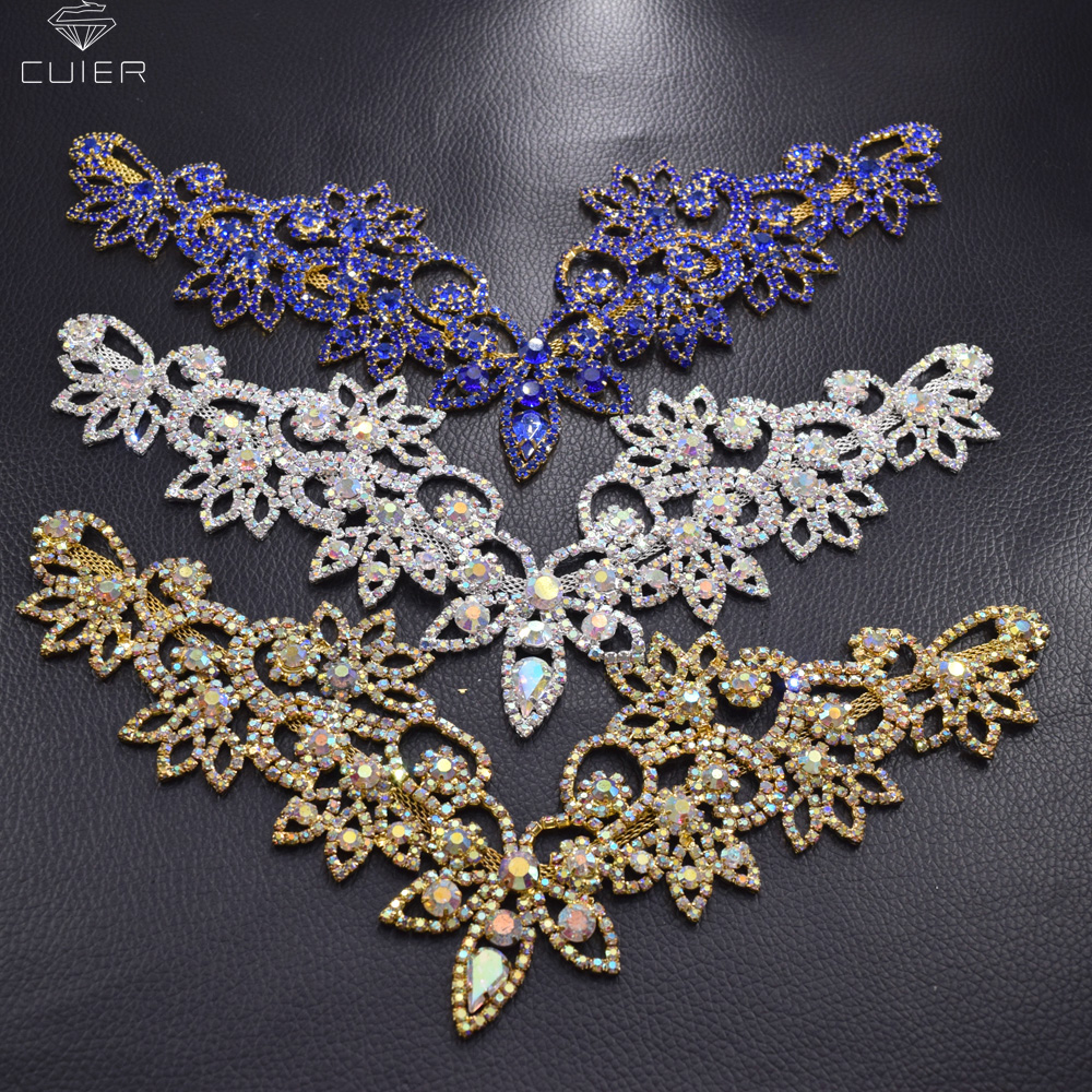 wholesale 10pcs lot handmade glass crystal Sewing rhinestone applique V neckline collar trim for women dress
