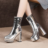 Genuine Leather Ankle Boots for Women Square Heel Super High Heels Cowboy Boots Silver Gothic Platform Shoes Botines Mujer