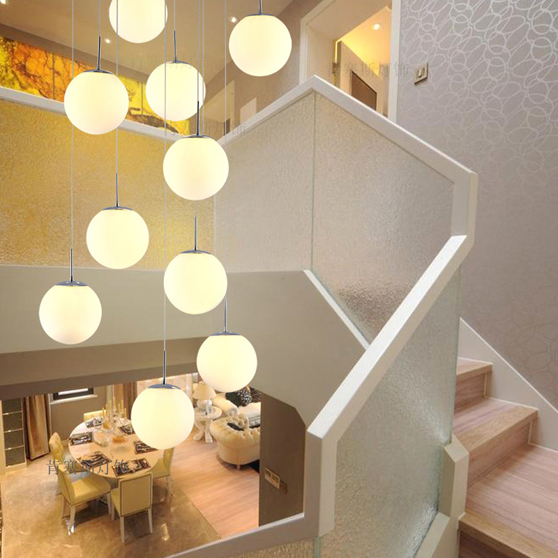 White Glass Pendant Light Kitchen Suspension Glass Ball Pendant Lamp Staircase Lights White Glass Lamp Dining Room Lamps Bedroom free shipping 3 lights dining room glass pendant light tready wine cup crystal pendant lamp led lamps bar kitchen glass light