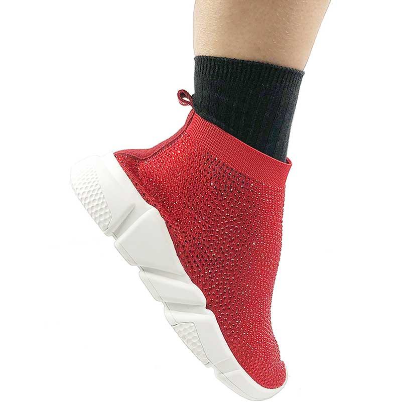 Elehot Rhinestone Red Sock Sneakers (2)