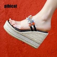 цены wedges shoes for wome crystal Bohemian Sandals Platform for Female Shoes flock High Heels Cover Heel Sandal Colored stoneSlipper
