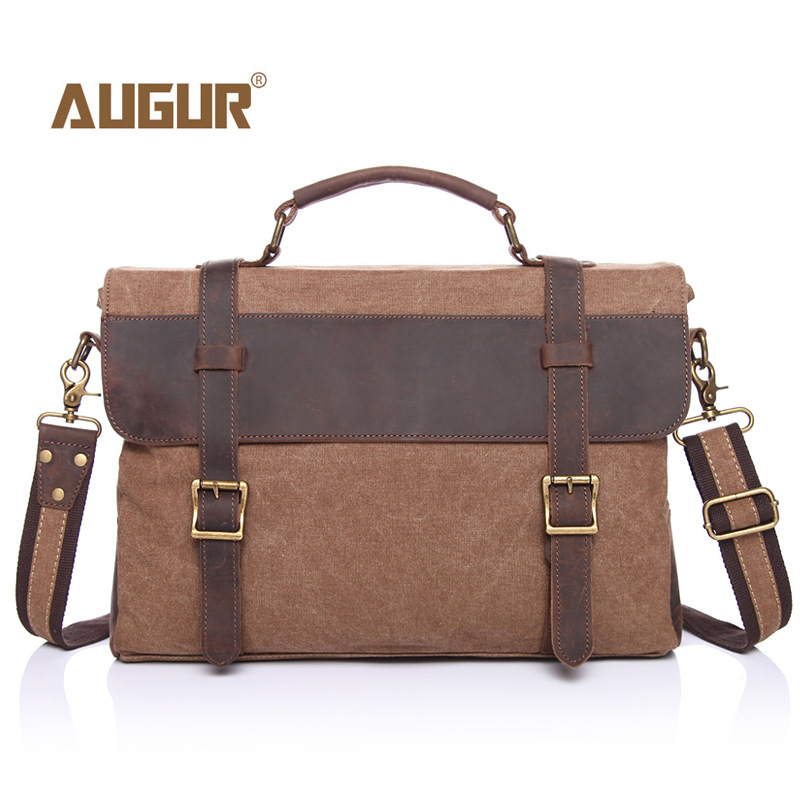 Augur Men Vintage Canvas Messenger bag soft canvas leather shoulder bags big school travel bag  hasp male handbags augur 2017 canvas leather crossbody bag men military army vintage messenger bags shoulder bag casual travel school bags