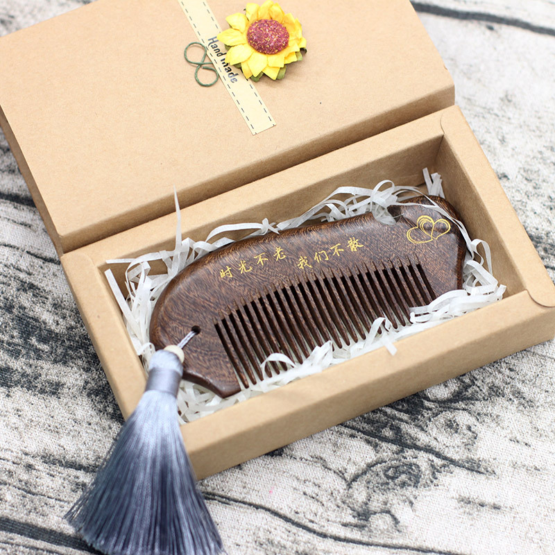 TI50 gruesa y fina de los dientes de oro negro Tan pescado peine sándalo peine anti-estática