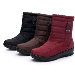 Image 2 - BEYARNE בתוספת גודל עמיד למים גמיש אישה מגפי באיכות גבוהה חם פרווה בתוך שלג מגפי חורף נעלי אישה calzado mujer