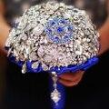 Personalizado broche de la boda ramos de novia Ramo de la joyería Royal blue crystal Bride's Bouquet DIY