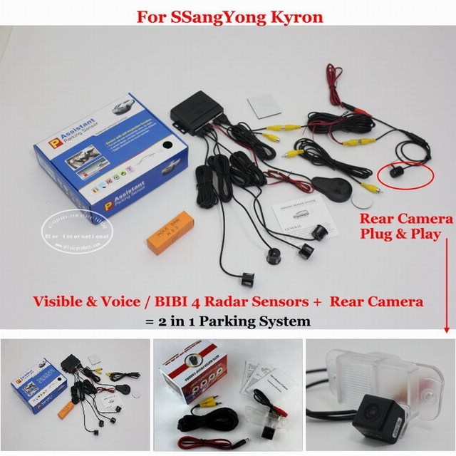 For SSang Yong Kyron - Car Parking Sensors + Rear View Camera = 2 in 1 Visual / BIBI Alarm Parking System