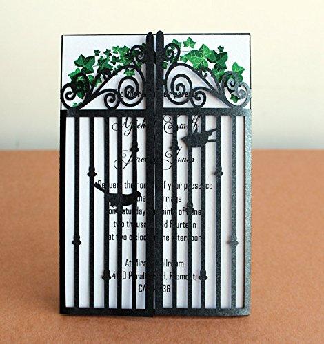 Svarta porten bröllopsinbjudan med kuvert, lyxiga svart - Semester och fester