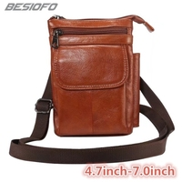 Genuine Leather Shoulder Bag Holster Zipper Pouch Hook Loop Cover Phone Case For Samsung Galaxy S4 S5 S6 S7 S8 Plus S9 S8 Edge