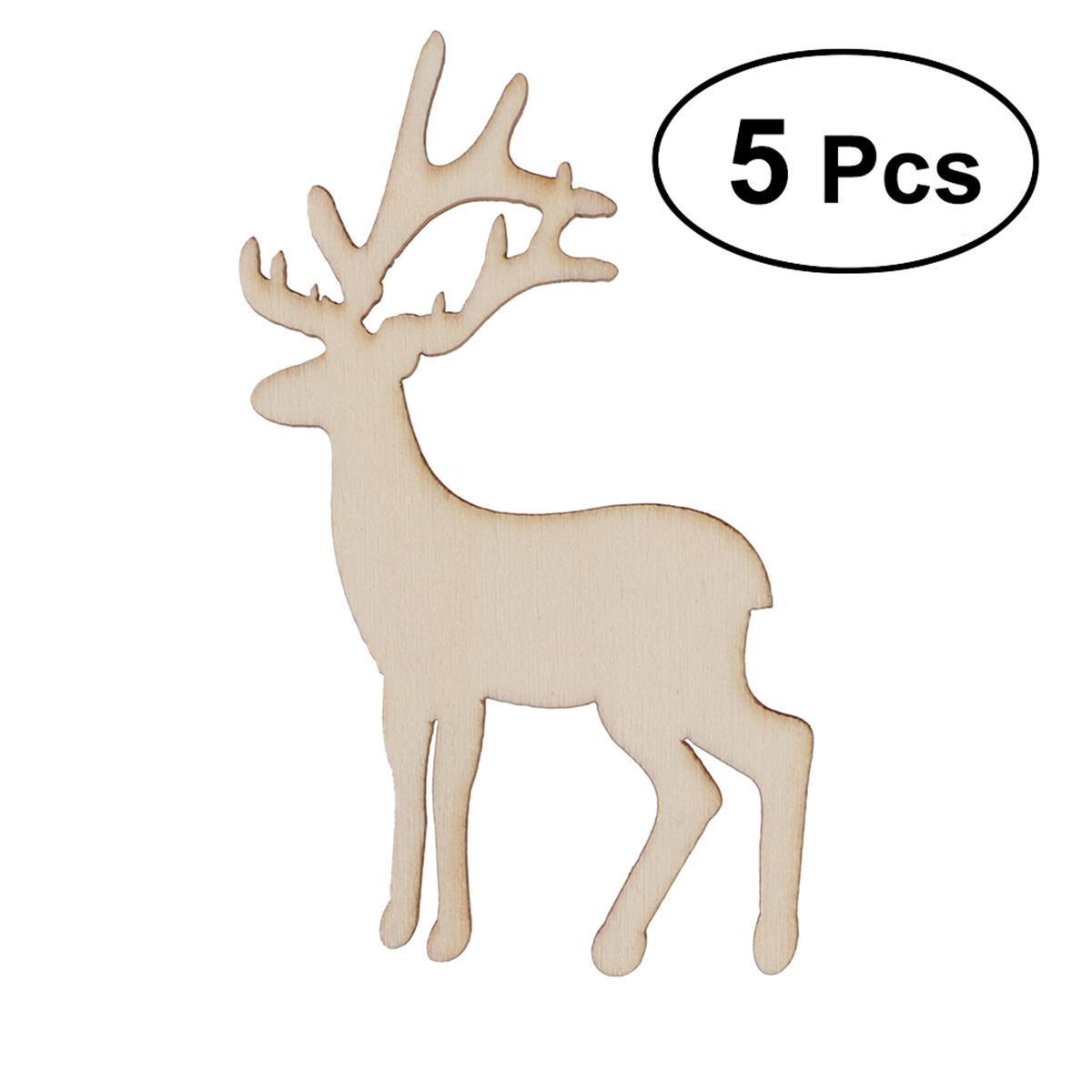 Pack of 5 Hanging Decorations Wooden Stag Head Craft Shapes