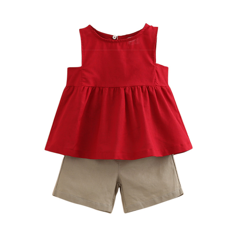 Girls Clothes Summer Style Tops Shorts 2pcs O-neck Sleeveless Pure Color Toddler Girls Clothing Set Suit for Girls baby Outfits