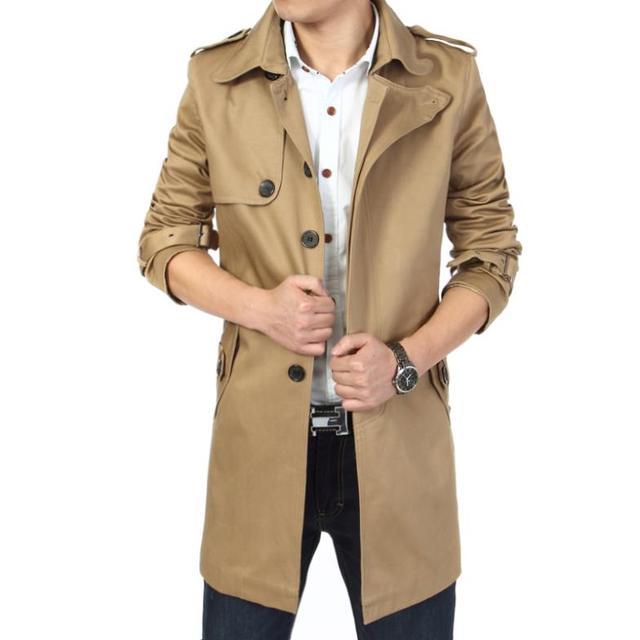 2017 de La Moda outwear hombres de la capa larga trinchera masculino casaco masculina ropa slim fit plus size Envío gratis