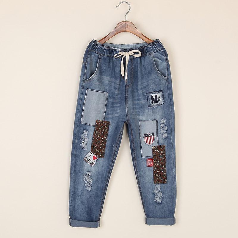 ФОТО Women Fashion Retro Patchwork Denim Pants Ladies Personality Elastic Waist Ankle Length Holes Ripped Jeans Female Denim Trousers