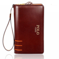 POLO hot sell leisure brand genuine leather men wallets,mens leather wallet,double zipper larger leather clutch purse for men