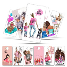 Soft Silicone Phone Case For Lenovo A536 Cover A358T A 536 5.0 Bumper Baby Black Brown Hair Mom Girl