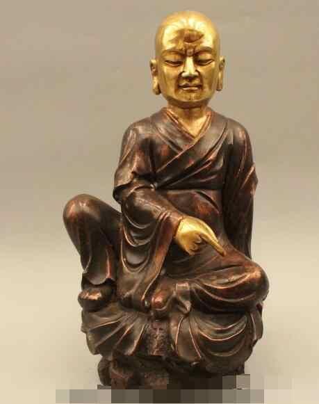 "S1100 16 ""China Folk Buddhisme Bronze Gild delapan belas arhat Bodhidharma Buddha Patung"