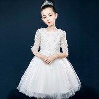 White Kids Flowe Girls Wedding Dress Girls 3/4 Sleeve 2019 Girls Vestido Infantil Kids Clothes 5 7 9 11 13 14 Year Old RKF184073