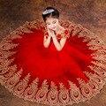 Принцесса Бальное платье Красный Кружева Цветок Девочки Платья для Свадеб День Рождения Причастие Дети Тюль