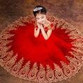 Princesa Balón vestido de Encaje Rojo Muchachas de Flor se Viste para Las Bodas Comunión Cumpleaños Niños de Tul