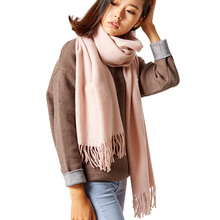 REALBY 2017 New Luxury Scarf Winter Women Soft Scarf Men Wool Cashmere Solid Scarf Best Quality Tassels Wraps Scarves
