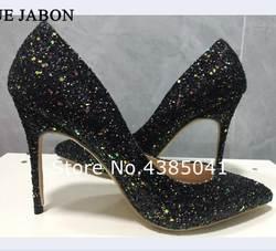 Юэ JABON Для женщин Туфли-лодочки на высоком каблуке черные Блестящие свадебные туфли женские туфли на высоком каблуке пикантная женская
