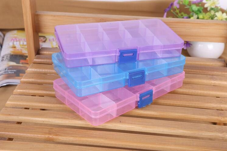 freeshipping 10pcs 15 Grid Transparent Plastic Storage Box Makeup Jewelry Pearl Fishing  ...