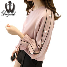 2016 autumn Korean large size fashion women clothing long-sleeved chiffon blouse casual female beading tops
