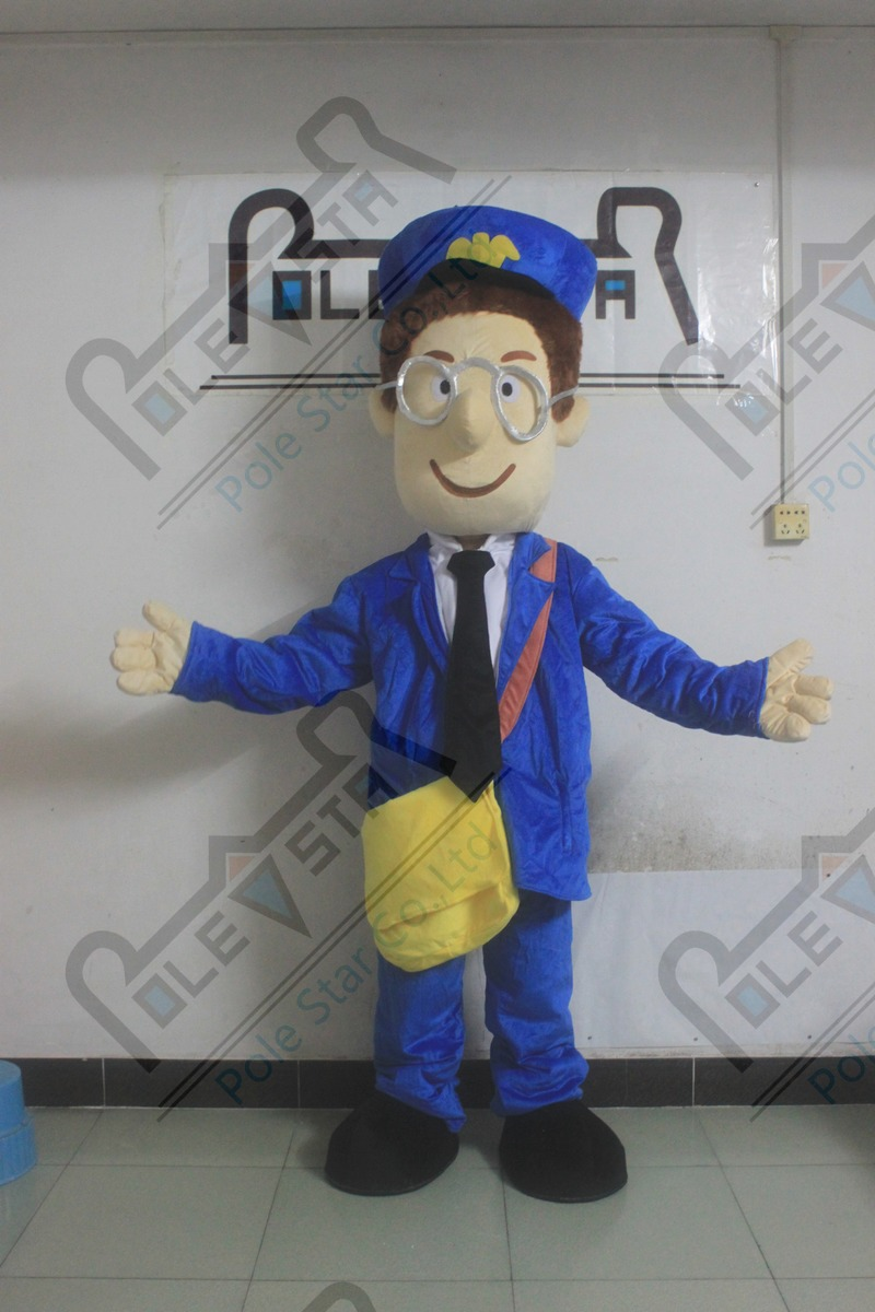Blue Suits Yellow Backpack Postman Pat Mascot Cartoon Costume Cartoon Post Man Mascot Costumes Nourishing The Kidneys Relieving Rheumatism