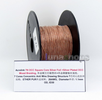 LN005740 100m Acrolink 7N OCC Square Core Silver Foil + OCC Mixed Braiding Ether PUR 26AWG Cable OD 1.1mm ID30