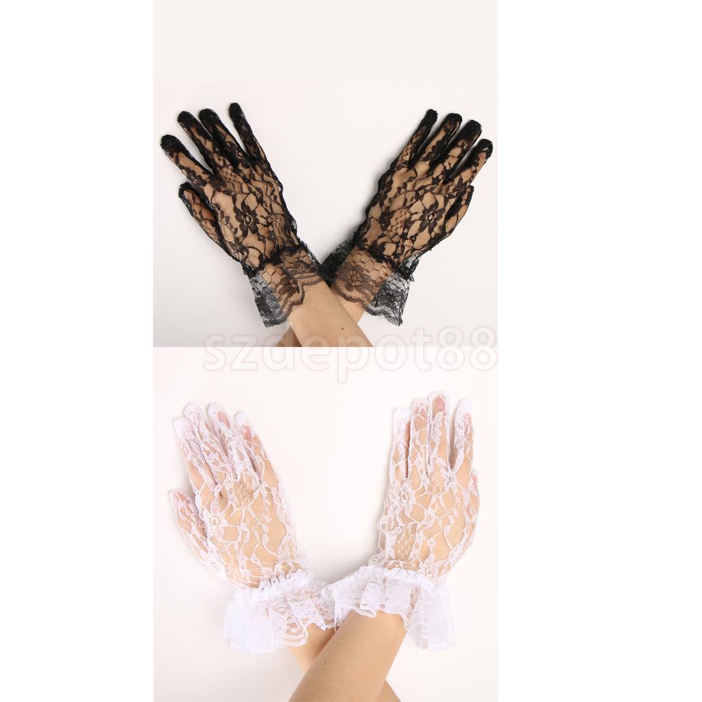 Lace Rhinestone Bridal Wedding Short Wrist Gloves Stage Performance Gloves 1Pair