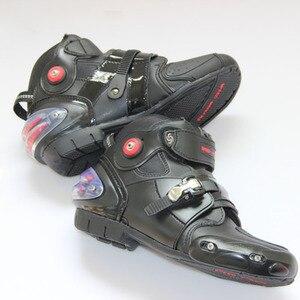 Image 3 - חדש אופנוע קצר אתחול מיקרופייבר עור Probiker מירוץ קרסול רכיבה נעלי מוטוקרוס סירות החלקה נעלי אופנוע מגפיים