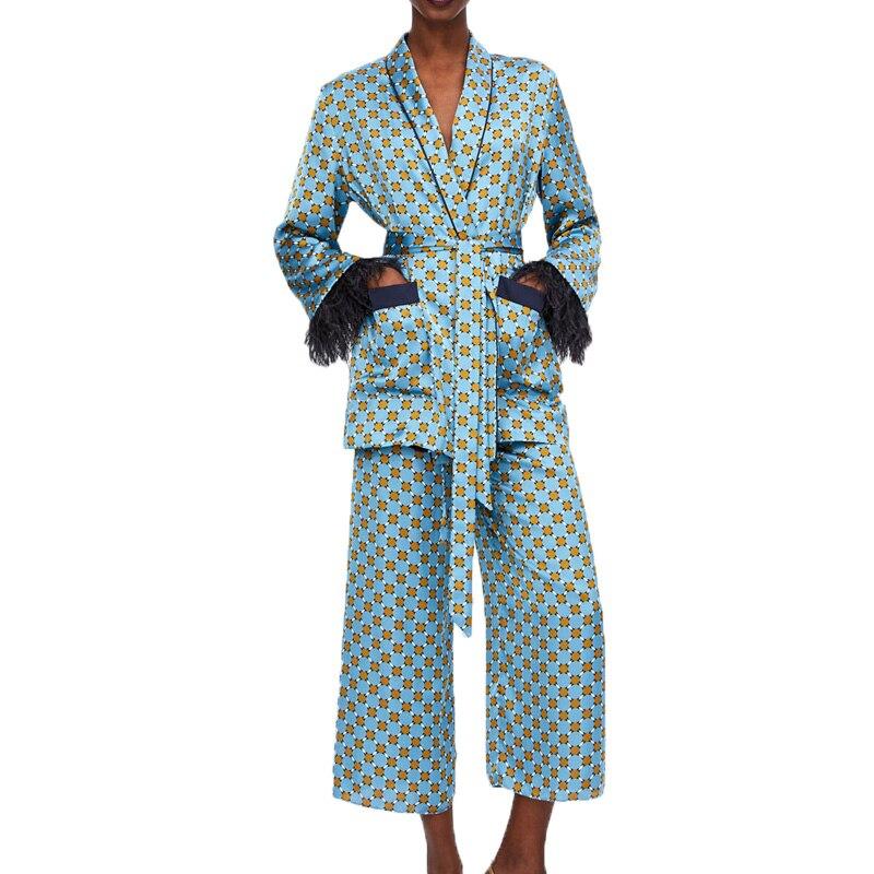 Automne 2019 casual 2 pièces ensemble femmes impression deux pièces ensemble gland femmes vêtements à manches longues blazer ensemble