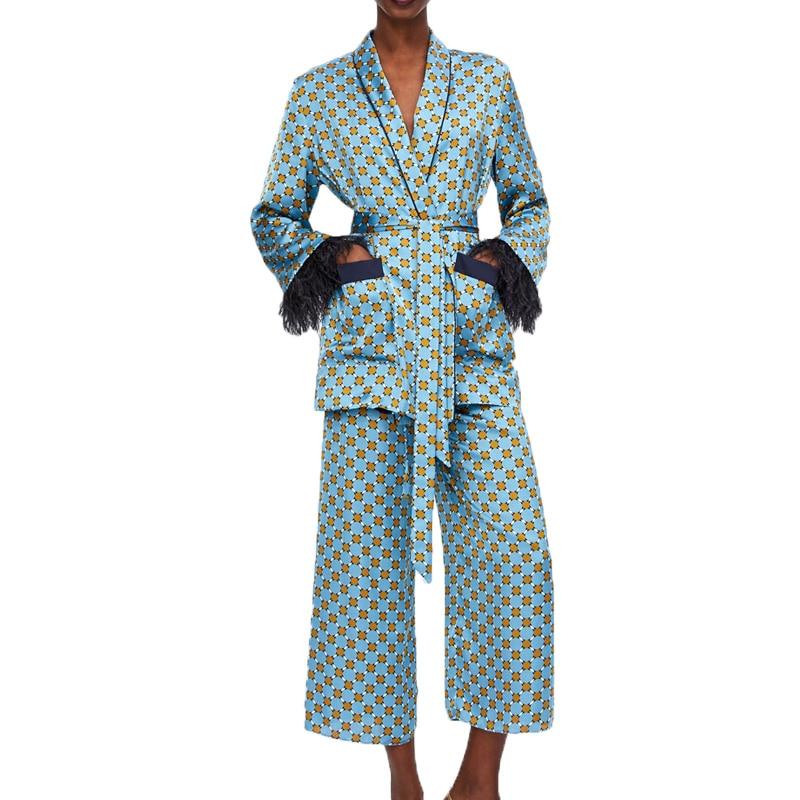 Autumn 2019 casual 2 piece set women printing two piece set tassel womens clothing long sleeve blazer set